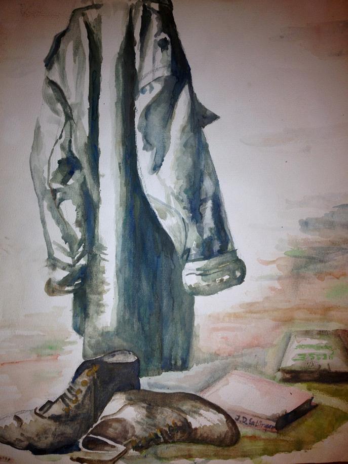 """Der Parka – unverzichtbarer Kleidungsbestandteil eines jeden """"Kunden"""". Doch die mattgrüne Jacke ist weit mehr als das: Seit den 1970er Jahren symbolisiert sie eine Haltung. Durch den Träger wird sie zur textilen Antithese zum staatlich verordneten Blauhemd der """"Freien Deutschen Jugend"""".  Parkajacke mit Schuhwerk (Aquarell, Andreas Boeck 1977)."""