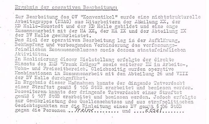 """Der Operativvorgang bringt in kurzer Zeit 6 Akten mit 1593 Blättern hervor. Und endet mit zwei Gefängnisstrafen. Lothar Rochau bleibt unbehelligt, auch um die staatliche Forderung nach einer innerkirchlichen Sanktionierung des Diakons wirksamer vortragen zu können. Eine Versetzung Rochaus - weg aus Halle-Neustadt - wird für die Zeit nach der Verurteilung von Preine und Rösel erwartet. Im Spätsommer 1981 ist sich das MfS seiner Sache so sicher, dass es den OV Konventikel abschließt, um den Diakon Rochau, Lothar bis zur Versetzung durch die KD Halle-Neustadt unter operative Personenkontrolle zu stellen.  Aus dem Abschlussbericht des OV Konventikel vom 29. August 1981 (Quelle: BStU, MfS, KD Halle-Neustadt, VIII/405/81, OV """"Konventikel"""", pag.325)."""