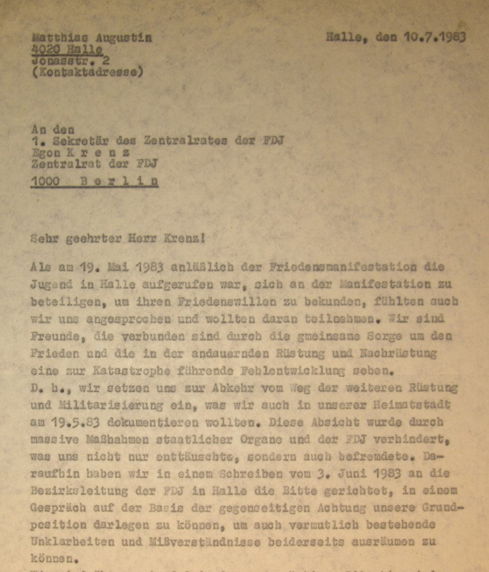 Eingabe an Egon Krenz (Quelle: Nachlass von Katrin Eigenfeld im Bestand der Robert-Havemann-Gesellschaft, KE 02).